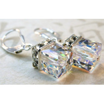 Aros Cristal Cubo Ab 6mm Plata Swarovski-elements.