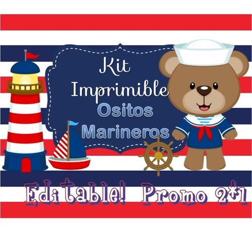 58203c89a Kit Imprimible Ositos Marinero Nautico Candy Bar Editable en venta ...