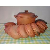 Set Olla De 10l+ 10 Cazuelas Barro Curado Listas P. Cocinar!