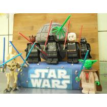 Star Wars Lego(6 Figuras Y La Estrella) En Porcelana Fria