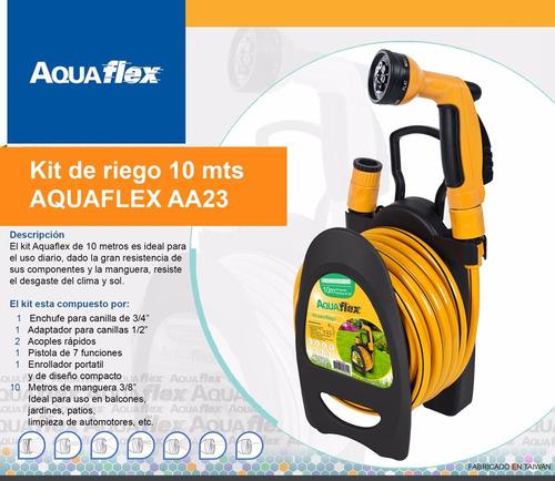 Manguera De Riego 10 Mts 3/8 Carretel Y Kit Aa23 Aquaflex