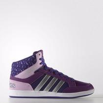 Zapatillas Botitas Adidas Neo Hoops Mid Niñas Violeta