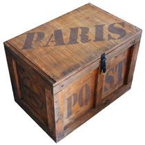 Baúl Madera Vintage Grande P/candado Paris M-36