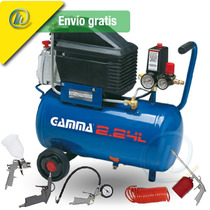 Compresor Gamma 24 Lts Motor 2 Hp + Kit 5 Accesorios