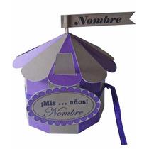 Souvenir Infantil Caja Circo Violeta Madera Diámetro 8,5 Cm!