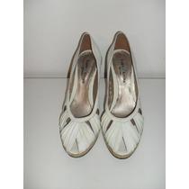 Zapatos De Cuero Blanco Lady Stork N° 40