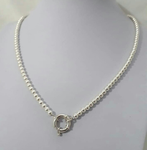 48f044d73ad7 Collar Bolitas De Plata 4 Mm 45 Cm Largo Con Cierre Marinero