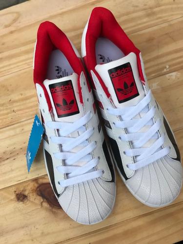 b783eb3b98 Zapatillas adidas Superstarrojas Con Blanco 100% Originales