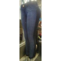 Pantalon Jeans Elastizado Chupin Tiro Medio Combinado Moda