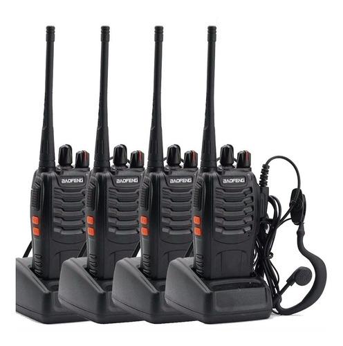 Kit X 4 Handy Baofeng Radio Walkie Talkie Bf888s 16ch Uhf + Auricular Manos Libres