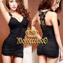 Mini Sexy Dress Vestido Remera Con Encaje Importado