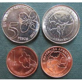 Argentina Nuevas Monedas 1 Y 5 Pesos 2017 - Arboles - F D C