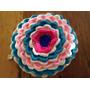 Almohadon Tejido A Mano A Crochet 30 Cm Diametro Flor