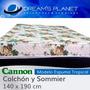 Colchon Sommier Cannon 140x190 Box Forrado En Cuerina