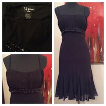 Vestido De Gasa Negro Corte Princesa