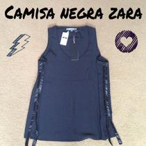 Camisa Fiesta Negra Pailletes A Los Costados Talle S Sin Uso