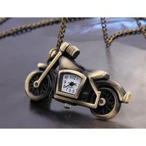 Reloj Colgante Moto Retro Color Bronce Con Cadena Subasta!!!