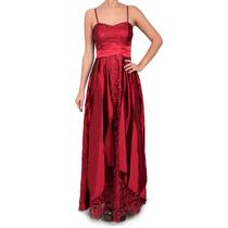 Vestido Largo De Encaje Con Faja De Raso, Brishka, V-0015