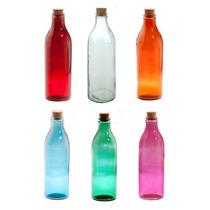 Botella Vidrio Para Jugo, Agua, Leche Esmerilada Tapa Corcho