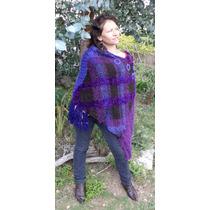 Tejido Artesanal Poncho Lana De Oveja Crochet Telar Original