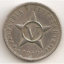 Cuba, Primera Republica, 5 Centavos, 1916. Vf-