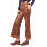 Pantalón Pata Ancha Cuero Marrón Elastizado Tiro Alto Giacca de3026c4aba3