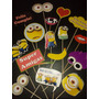 17 Props Photo Booth Minions - Cumpleaños Infantil Souvenirs