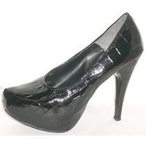 Zapatos Stilettos Plataforma Taco 11 Cm Croco Sandalias