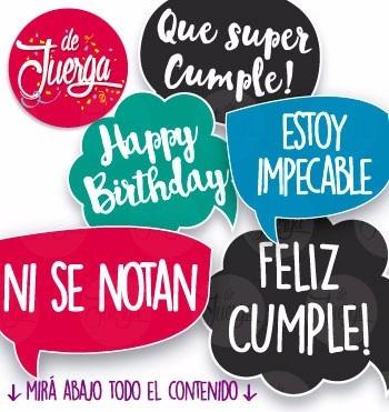 Photo Booth Cumpleaños Imprimible 20 Frases Props En Venta