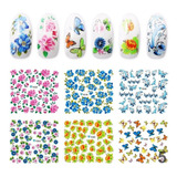 10 Planchas Stickers Al Agua Tatoo Deco Nails Lefemme