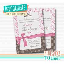 Invitación Cumple Princesa - Tarjetita Con Coronita Imprimir