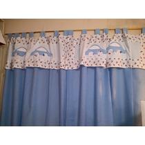 Cortinas Dormitorio Infantil Cuarto Bebe 2 Paños 2,00 X 1,50