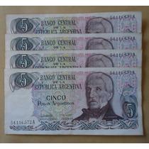 4 Billetes Consec. 5 Pesos Mal Cortados...blamanan