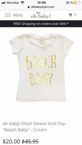 Remera Suave 100% Bamboo.beach Baby Importada 38c7de7aca54