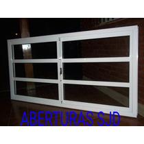Ventana Aluminio Blanco 200x110 Vidrio Repartido Horizontal