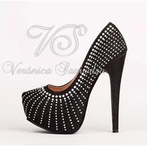 Zapato Mujer Negro Fiesta Con Strass