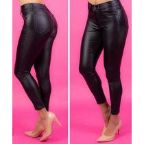 Pantalón Engomado Elastizado Simil Cuero Negro Tiro Alto