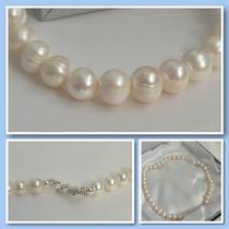 Conjunto De Perlas Naturales Cultivadas Y Plata Con Aros