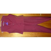 Conjunto Mujer Casaca Chaleco Pantalon Bordo Talle 40 Chaque