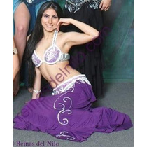 Traje Lila Y Blanco Bordado Strass Danza Arabe Belly Dance