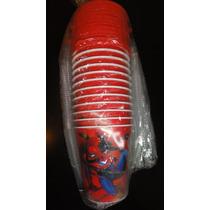 Souvenirs X10 Vasos De 250ml Hombre Araña Tapa Y Sorbete