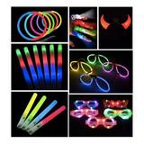 Combo Cotillon Luminoso Led Neon 100 Personas + Labial Fluo
