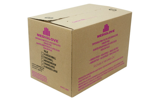 Guantes Látex Rosa Salmon Sin Polvo -(10x100un) Mediglove