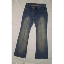 Pantalon De Jean Azul Gastado Tipo Oxford De Mujer T.42
