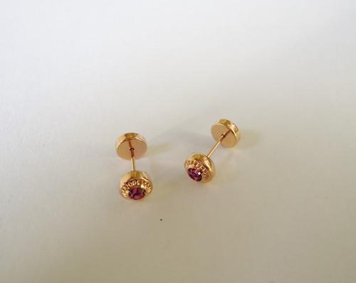 e6bd0e190309 Aros Abridores Oro 18 Kt Piedra Cubic Rosa Griegos Bebé Nena en ...