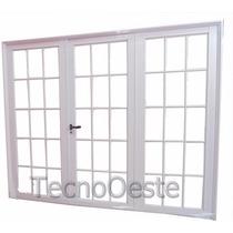 Portón Aluminio Blanco Vidrio Repartido Completo 240x200 Cm