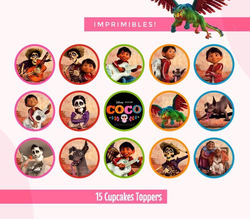 Toppers Imprimibles Disney Coco Pixar - Fiesta Cupcakes - $ 25 en ...