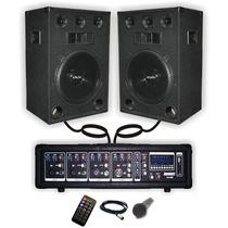 Combo Consola Potenciada 400w 2 Bafles 1 Microfono Karaoke