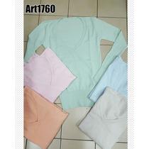 Sweaters Hilo Y Lycra De Mujer Liso Colores Stampa Woman