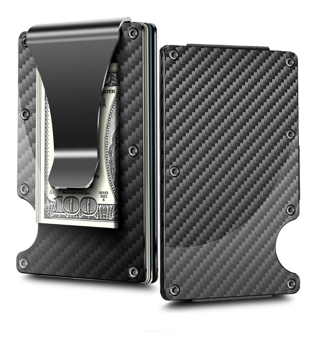 Billetera Slim Aluminio Clip Tarjetero Carbono Ela